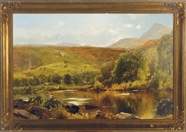 An angler fishing in a landscape