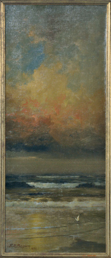 Sunset on the breakers; and a companion painting of a moonlit boat