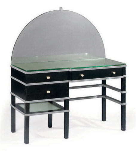 A PAINTED WOOD, MIRRORED GLASS AND BAKELITE DRESSING TABLE,