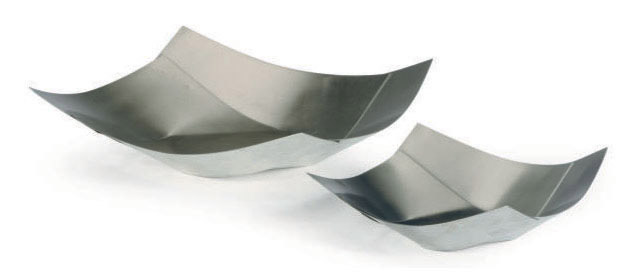 TWO ITALIAN BRUSHED AND POLISHED-STEEL TRAYS,