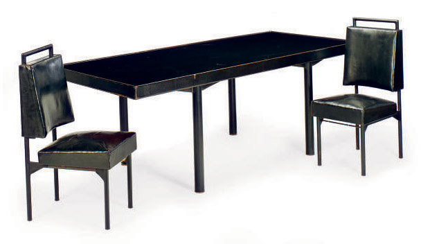 A REVERSE PAINTED GLASS AND LEATHER WRAPPED IRON DINING SUITE,