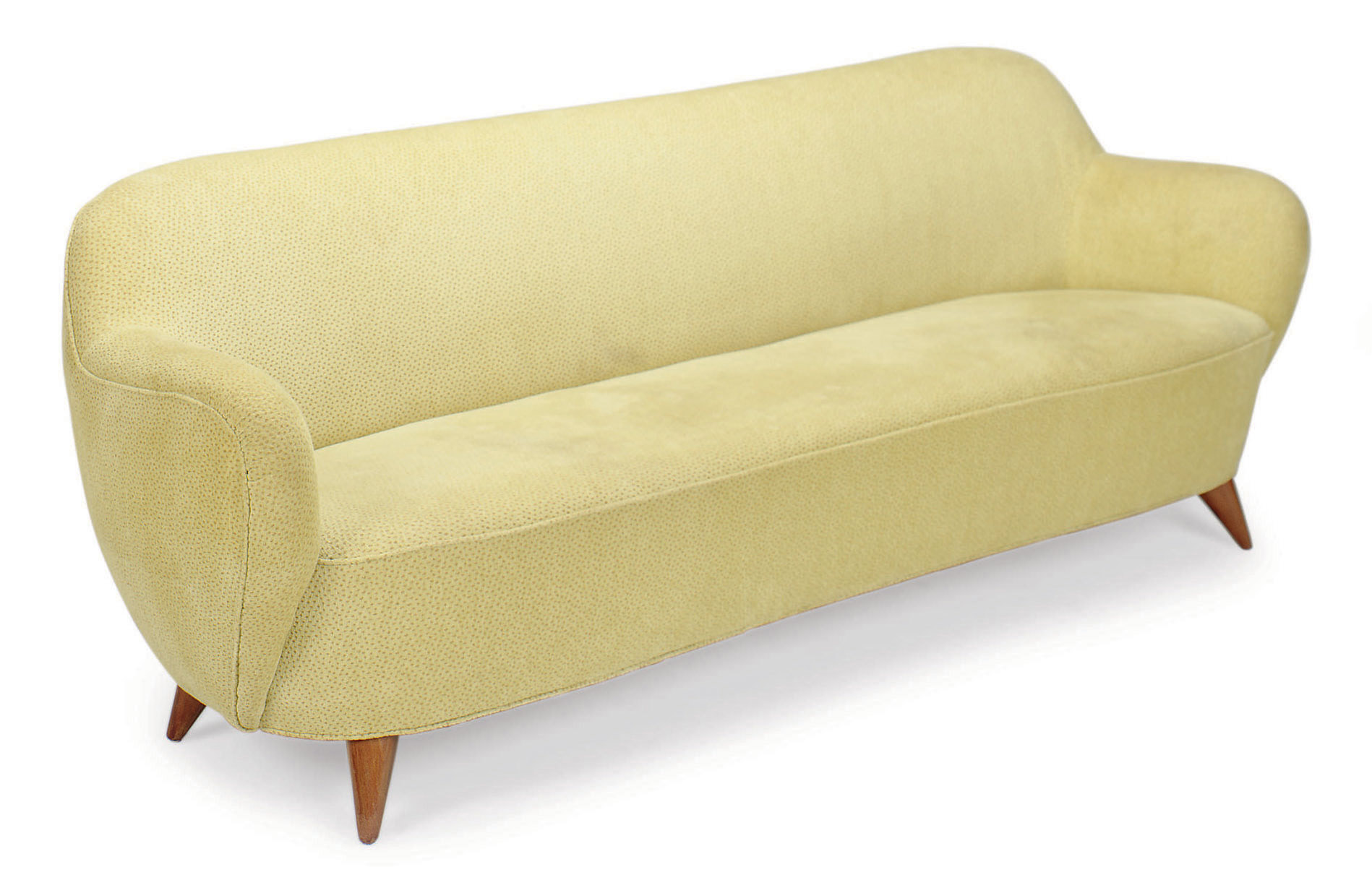 A GREEN AND GOLD PATTERNED VELOUR UPHOLSTERED SOFA,