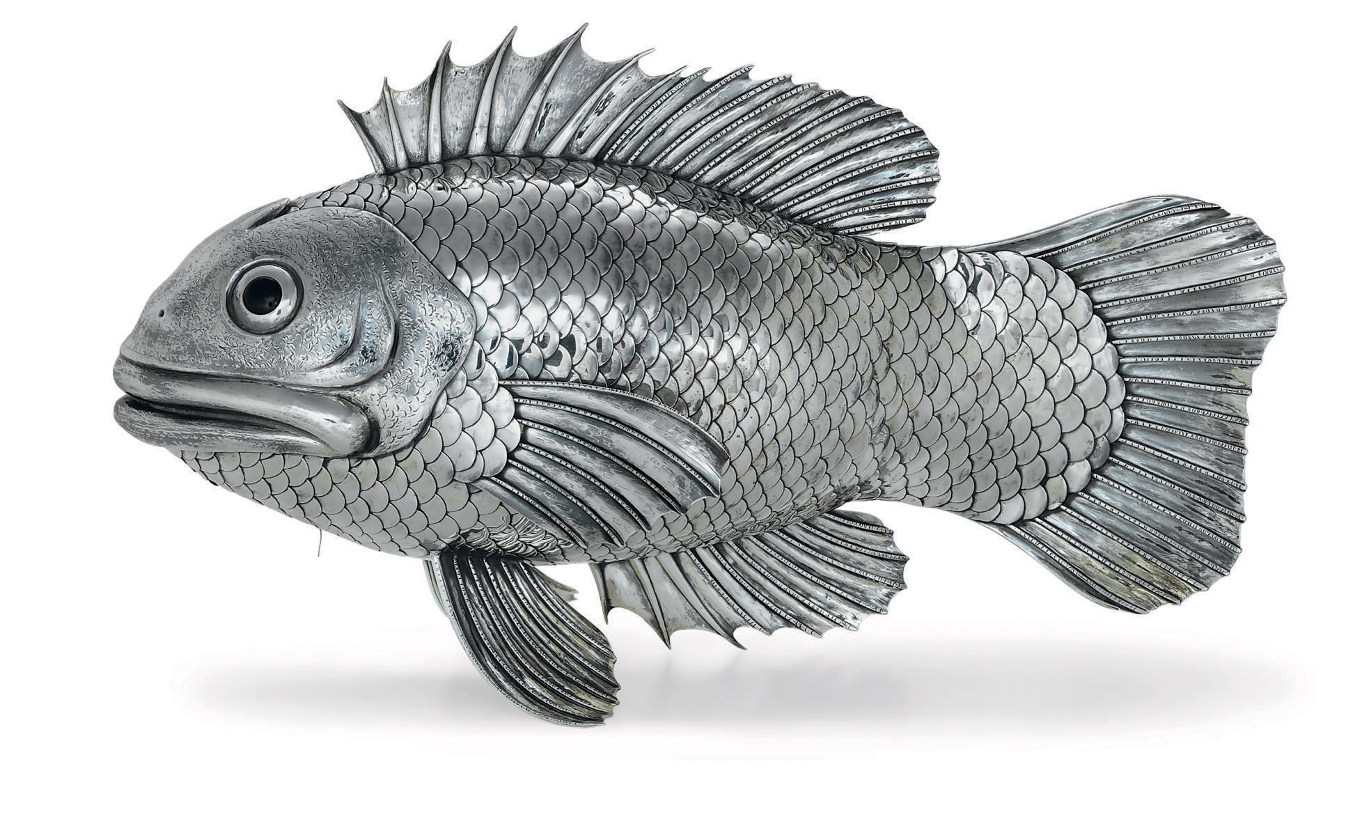 AN ITALIAN SILVER FISH-FORM CENTERPIECE