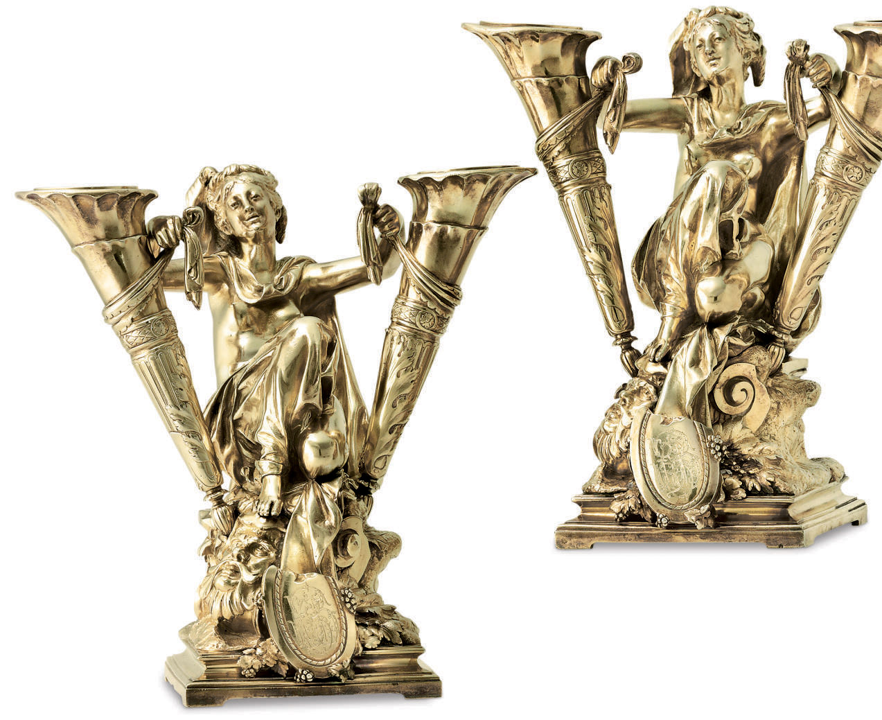 A PAIR OF FRENCH SILVER-GILT VASES