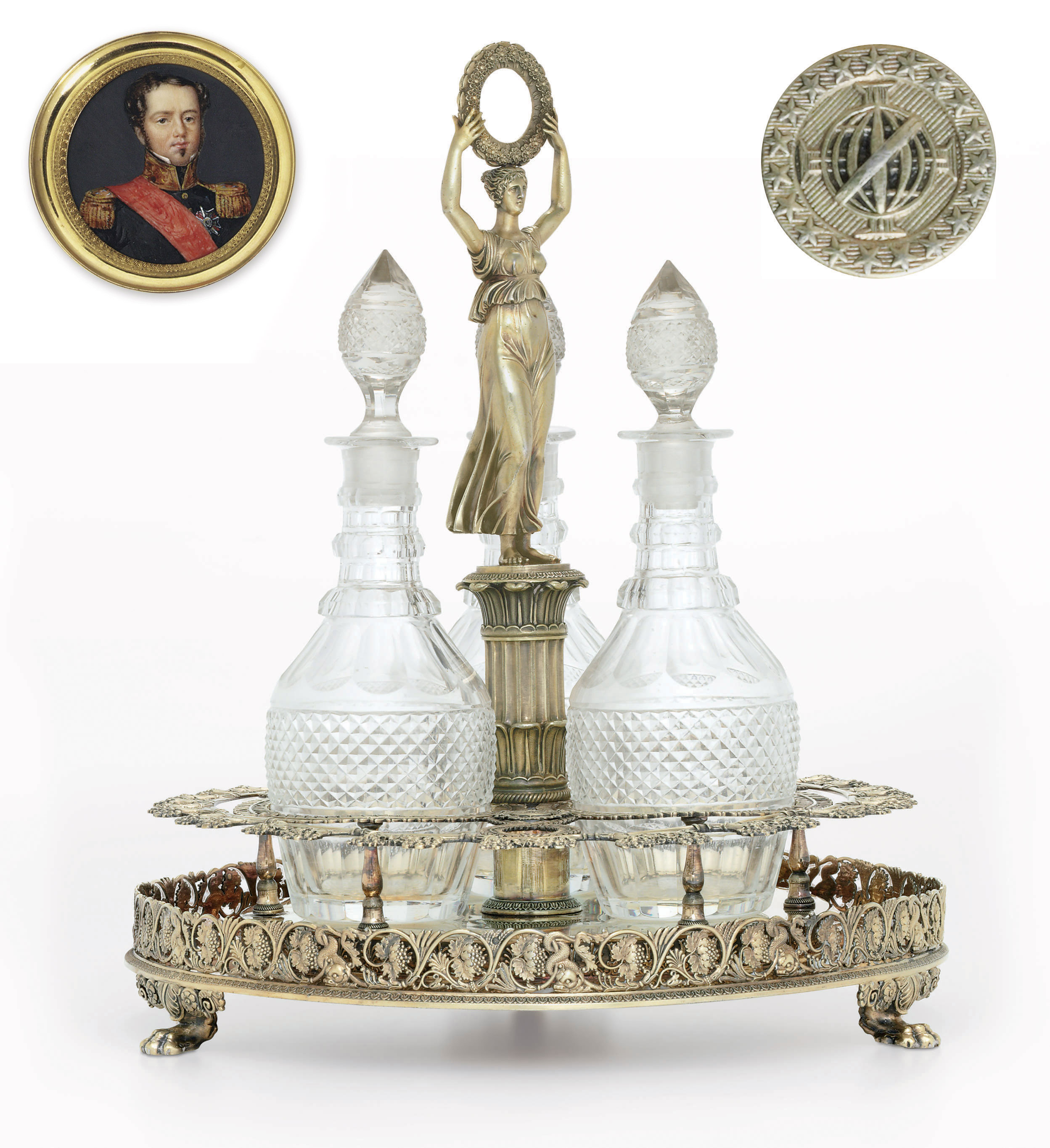 A FRENCH SILVER-GILT DECANTER STAND FROM THE BRAZILIAN IMPERIAL SERVICE