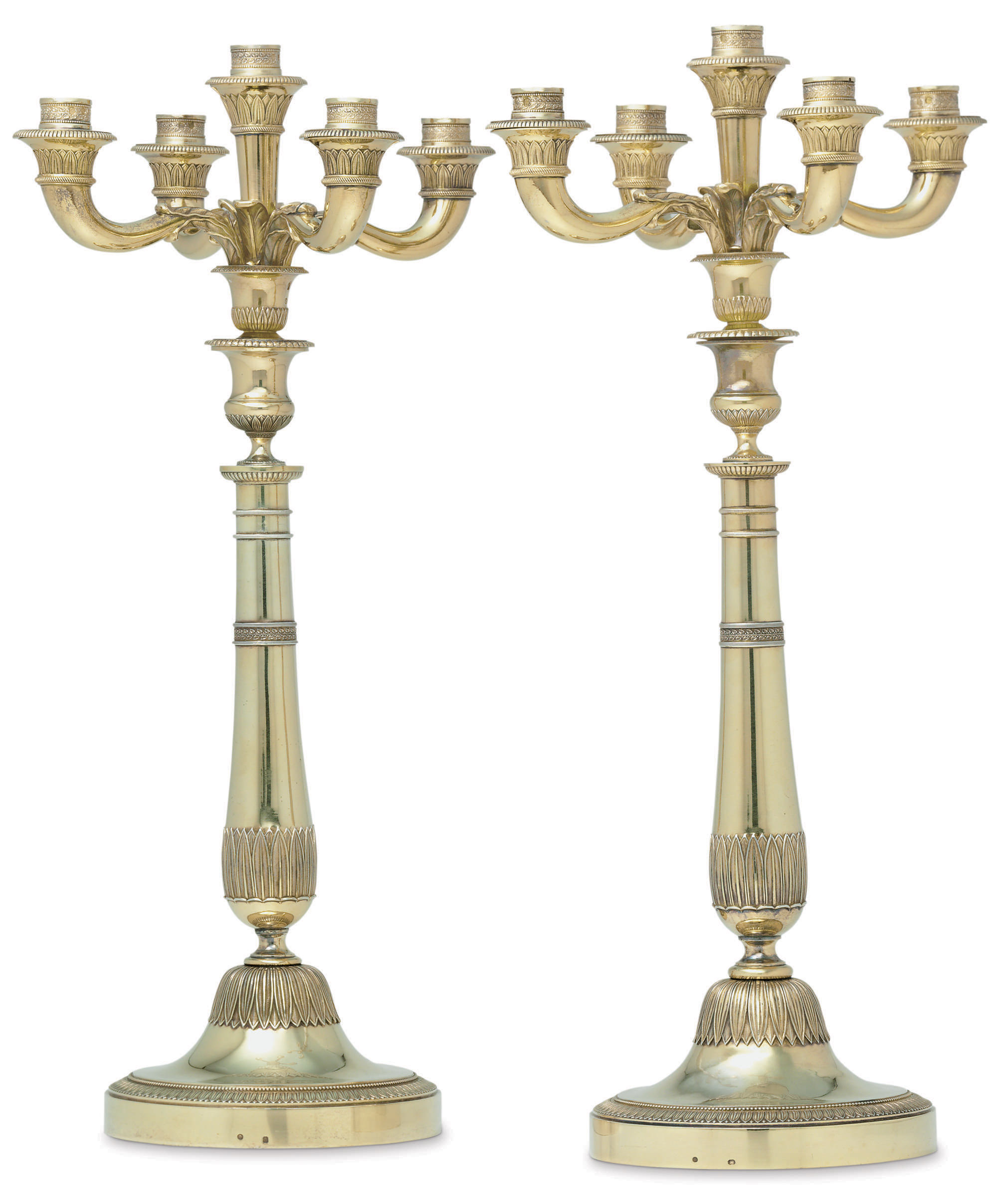 A PAIR OF FRENCH SILVER-GILT FIVE-LIGHT CANDELABRA