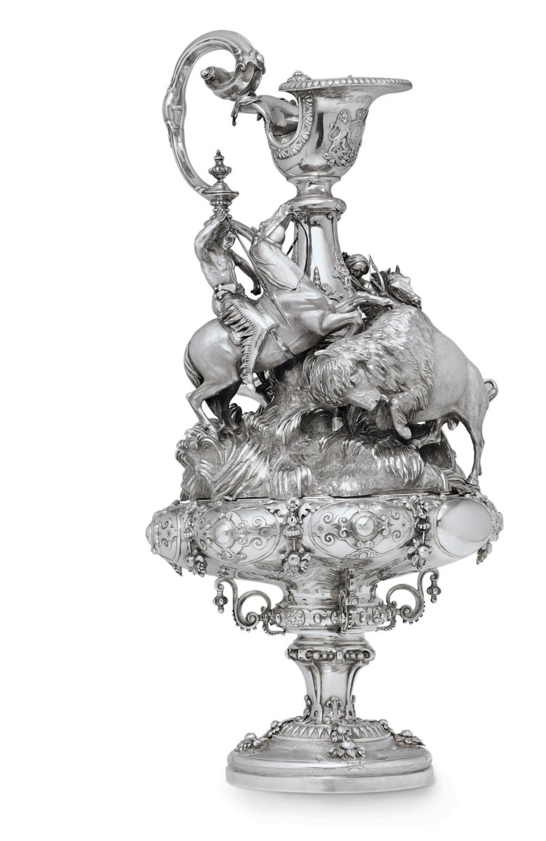 The Queens Cup, Ascot, 1861 a Victorian silver trophy, Mark of R & S Garrard, London, 1848; the design attributed to Edmund Cotterill. 30  in (76.2  cm) high; 324  oz (10,086  gr). Sold for $194,500 on 19 May 2010  at Christie's in New York