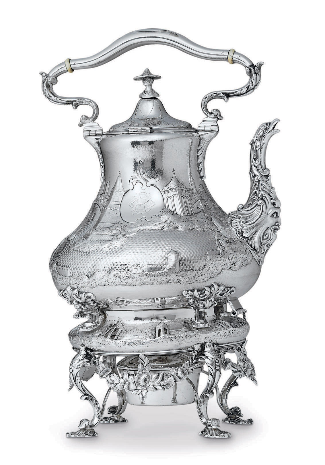 AN AMERICAN SILVER KETTLE-ON-STAND**
