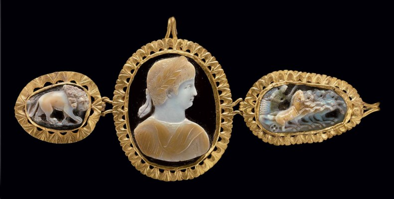Three Roman Gold Mounted Sardonyx Cameos Circa 1st 2nd