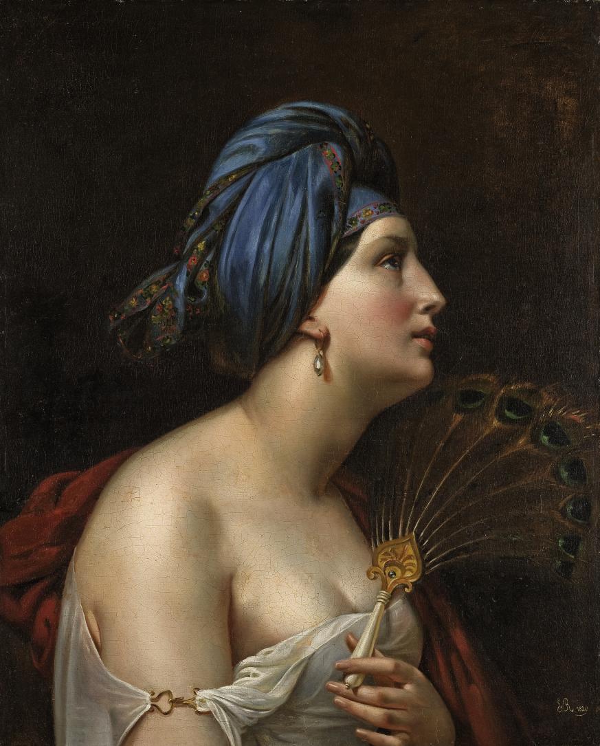 Femme au turban et à l'éventail en plumes de paon