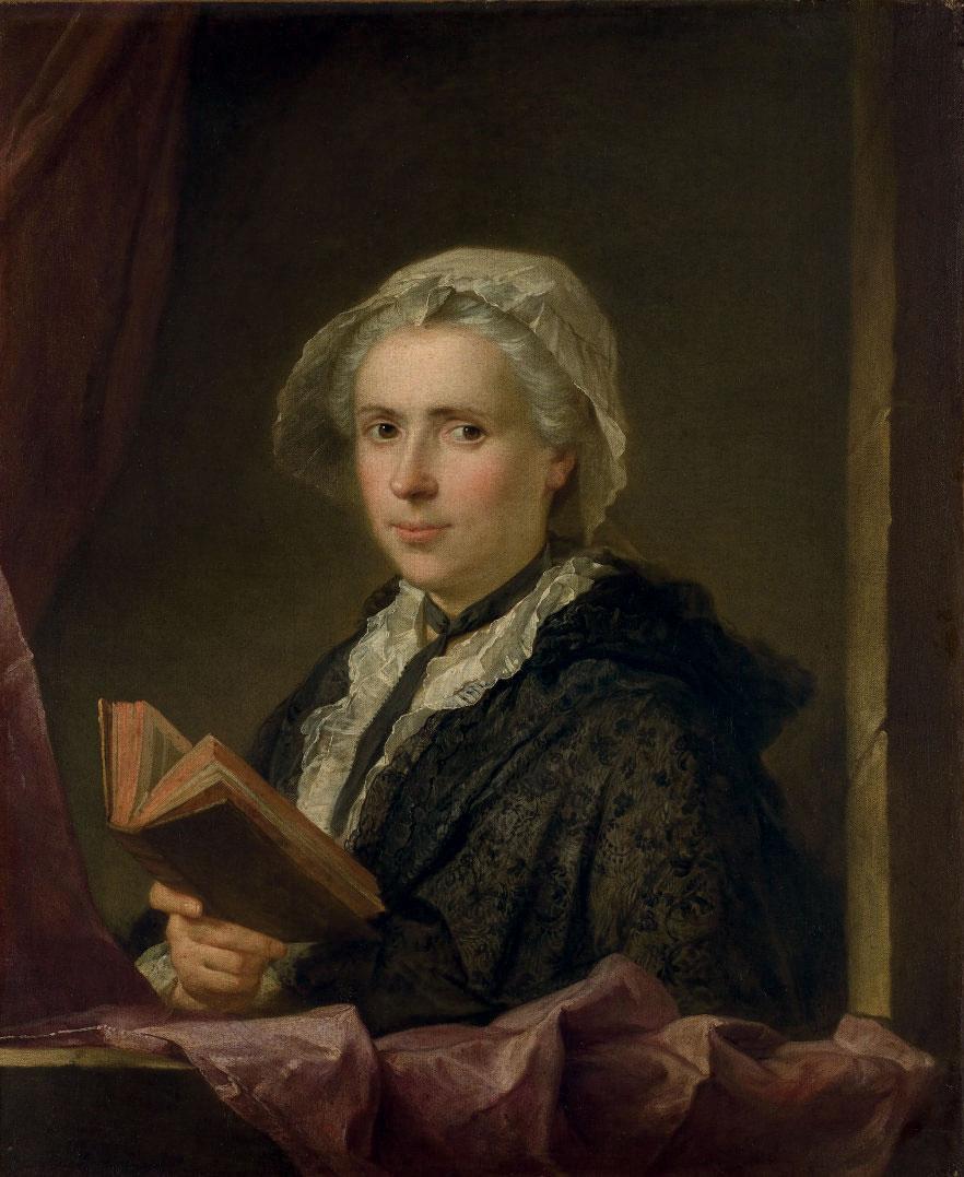 Portrait de dame tenant un livre