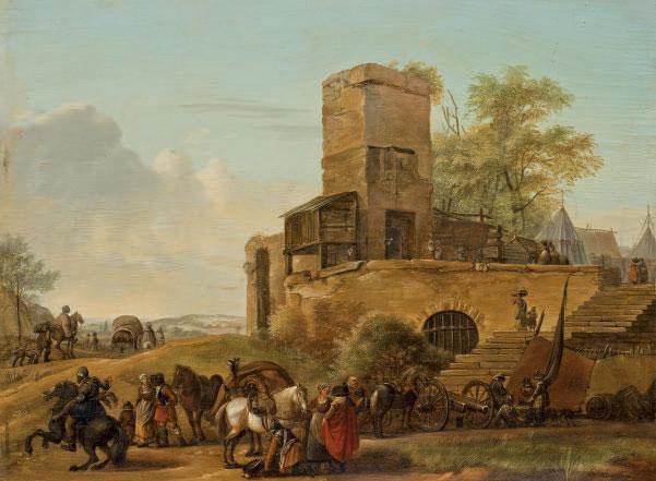 Bohémiens et garnison devant une place fortifiée