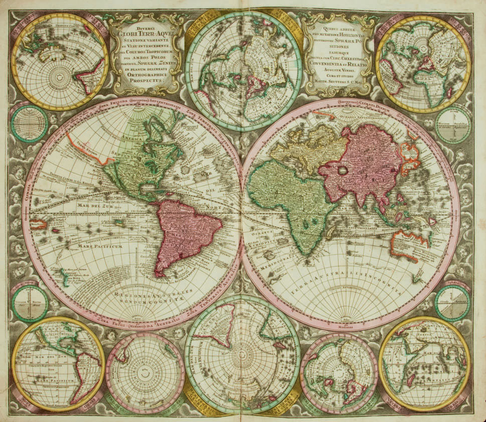 [CARTE] -- SEUTTER, Georg Matthäus (1678-1756). Diversi Globi Terr-Aquel Statione variante... Per coluros tropicorum per ambos Polos. Augsbourg: Seutter [vers 1735]. (505 x 590 mm). Mappemonde de grand format, coloriée à l'époque, très décorative avec huit autres projections en marge. (Pliure centrale, petite déchirure anciennement restaurée sans manque.)