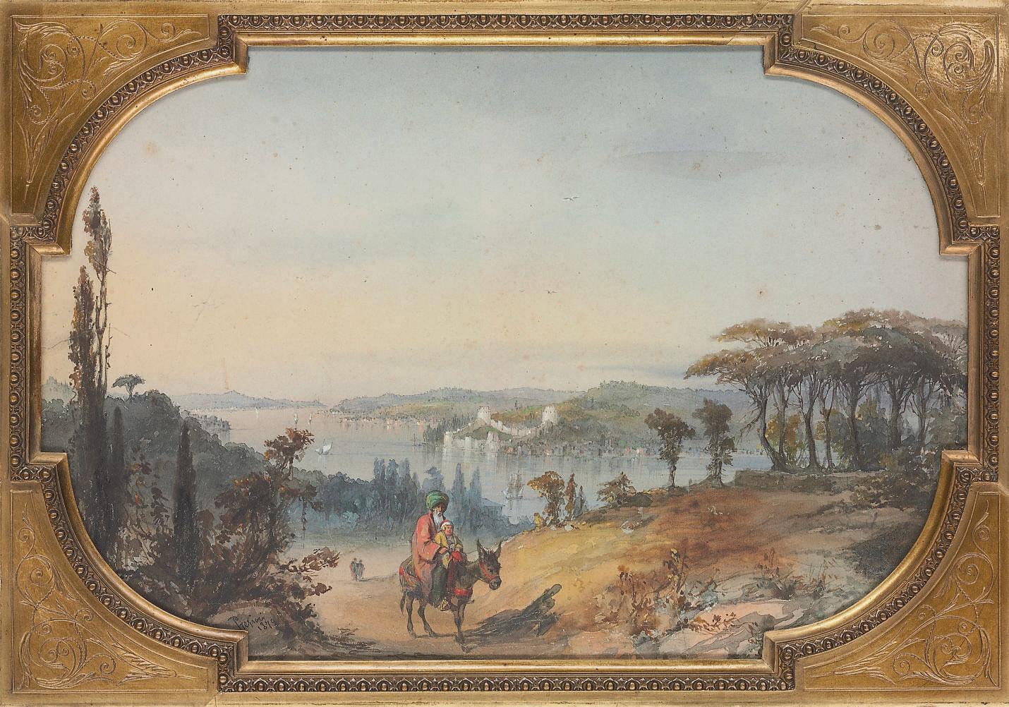 Vue du Bosphore avec à l'horizon Rumeli Hisari, Constantinople