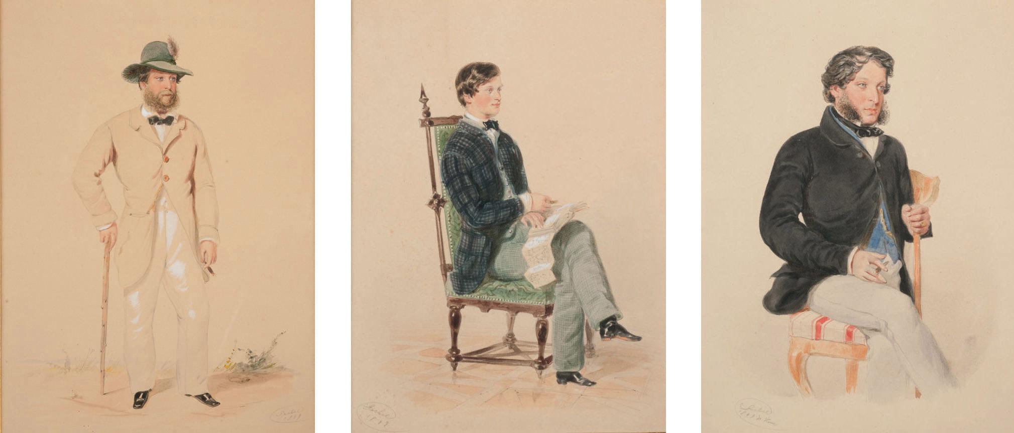 Homme debout avec sa canne; Homme assis lisant; et Homme assis fumant le cigare