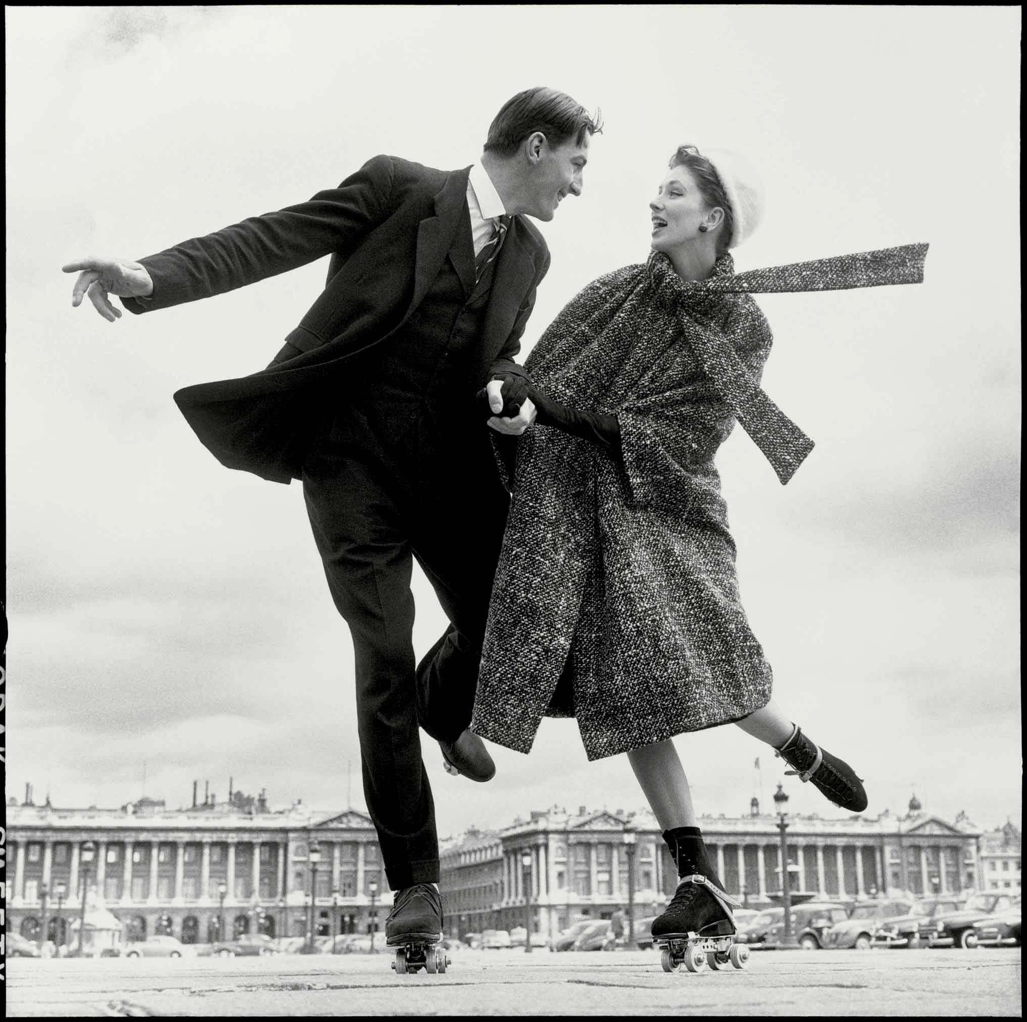 Suzy Parker and Robin Tattersall, Dress by Dior, Place de la Concorde, Paris, August 1956