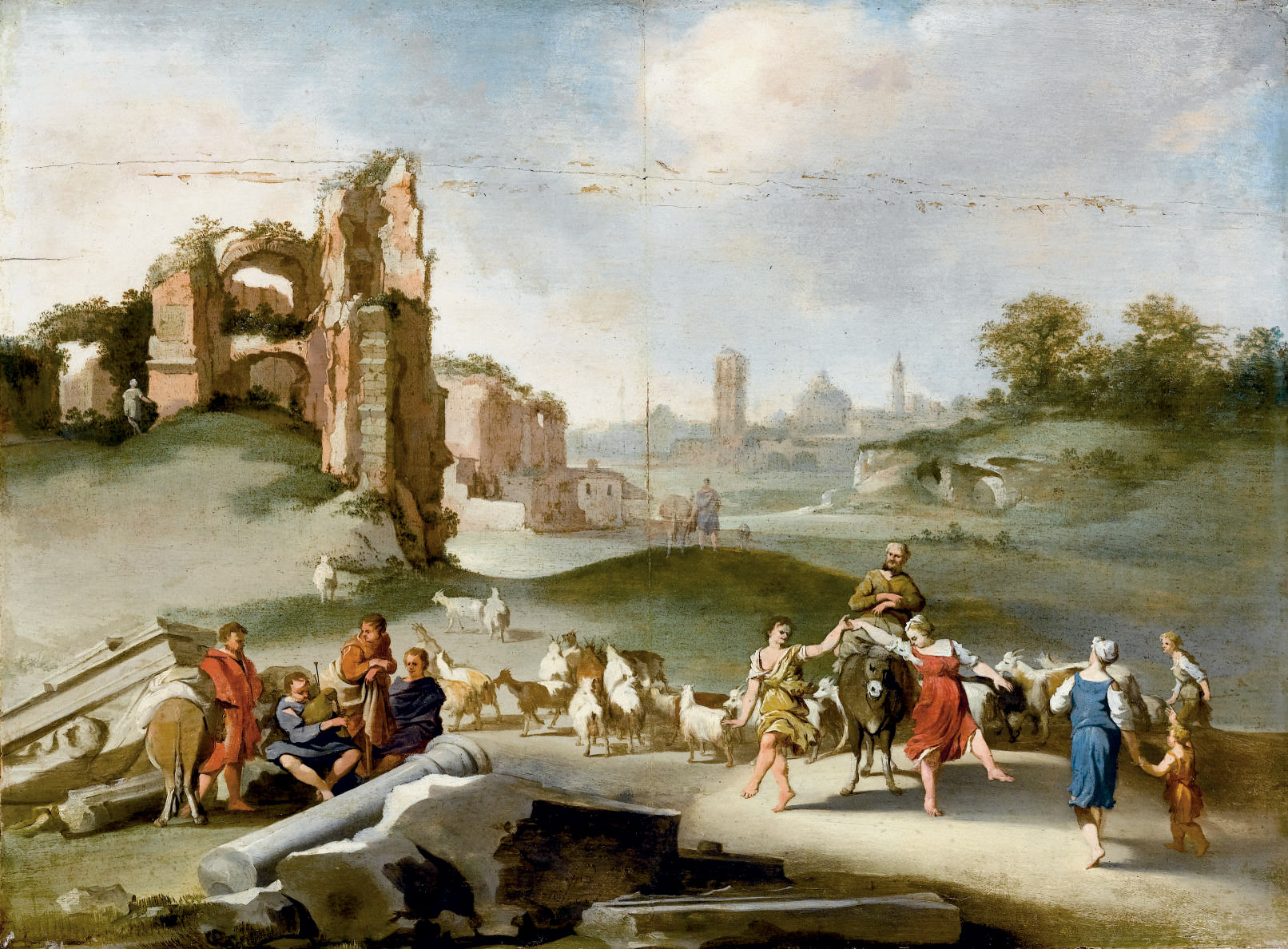 Paesaggio con rovine e figure