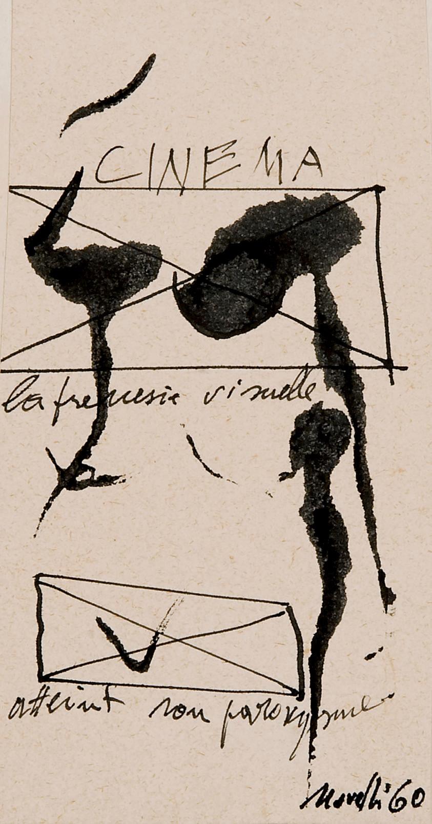 Lotto di 3 opere: a) Gastone Novelli (1925-1968) Betty Boop firmato e datato Novelli 60 (in basso a destra) inchiostro su carta cm 11x8,5 Eseguito nel 1960 L'autenticità dell'opera è stata confermata verbalmente dall'Archivio Novelli b) Gastone Novelli (1925-1968) Cinema firmato e datato Novelli 60 (in basso a destra) inchiostro su carta cm 13,5x7 Eseguito nel 1960 L'autenticità dell'opera è stata confermata verbalmente dall'Archivio Novelli c) Achille Perilli (N. 1927) Senza titolo firmato Perilli (in basso a destra) inchiostro su carta cm 10x9,5 L'autenticità dell'opera è stata confermata verbalmente dall'artista (3)