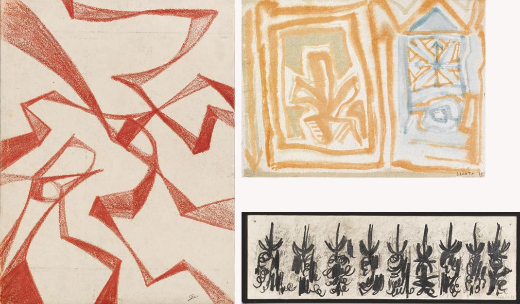 a) Composizione    firmato e datato Licata 54 (in basso a destra)    matita e carboncino su carta applicata su tela    cm 9,5x30,7    Eseguito nel 1954    Autentica dell'artista su fotografia in data 5 settembre 1992 b) Composizione    firmato e datato Licata 63 (in basso a destra)    acquarello su carta applicata su tela    cm 23x21,5    Eseguito nel 1963    Autentica dell'artista su fotografia in data 28 agosto 2001 c) Composizione    monogramma SL (in basso a destra)    sanguigna su carta applicata su tela    cm 31x24    Eseguito nel 1950    Autentica dell'artista su fotografia  (3)