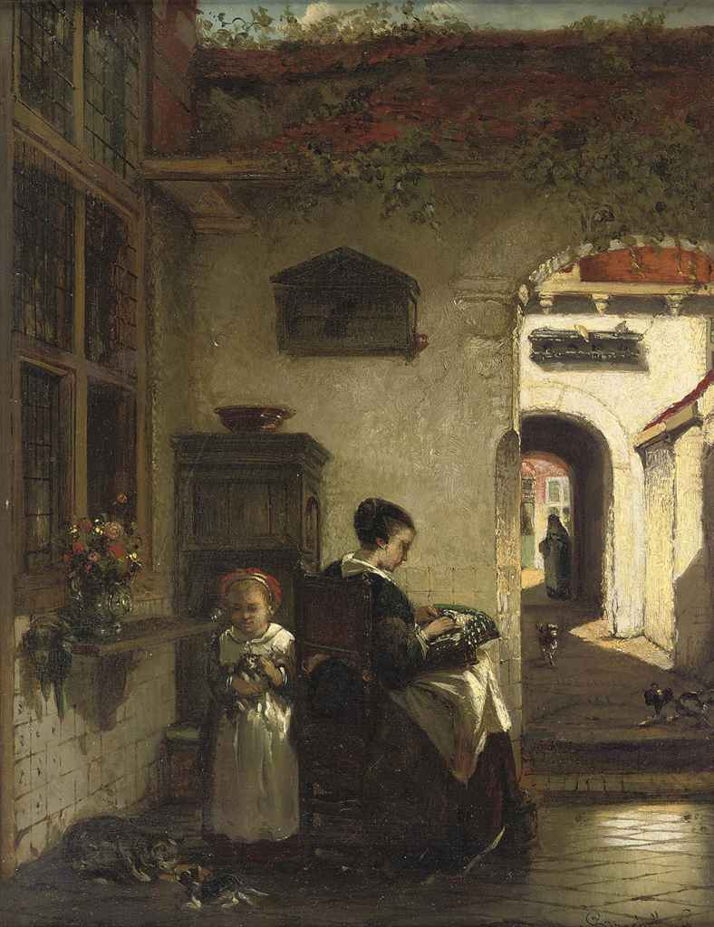 Mother and daughter in the courtyard