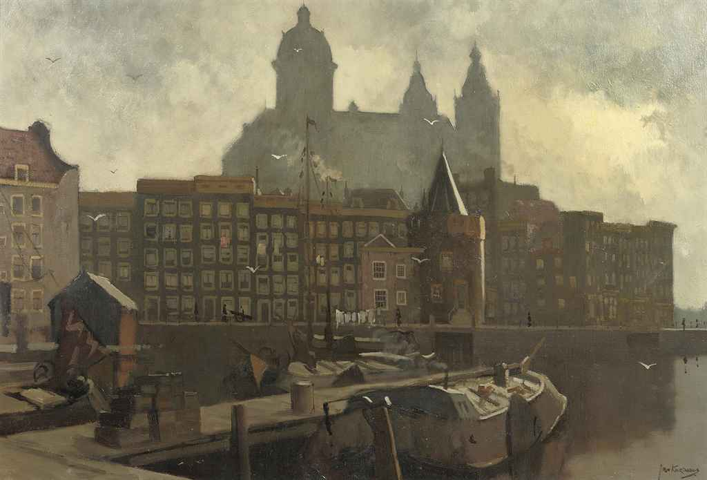 View of the Prins Hendrikkade with the Schreierstoren and the St. Nicolaas church beyond, Amsterdam