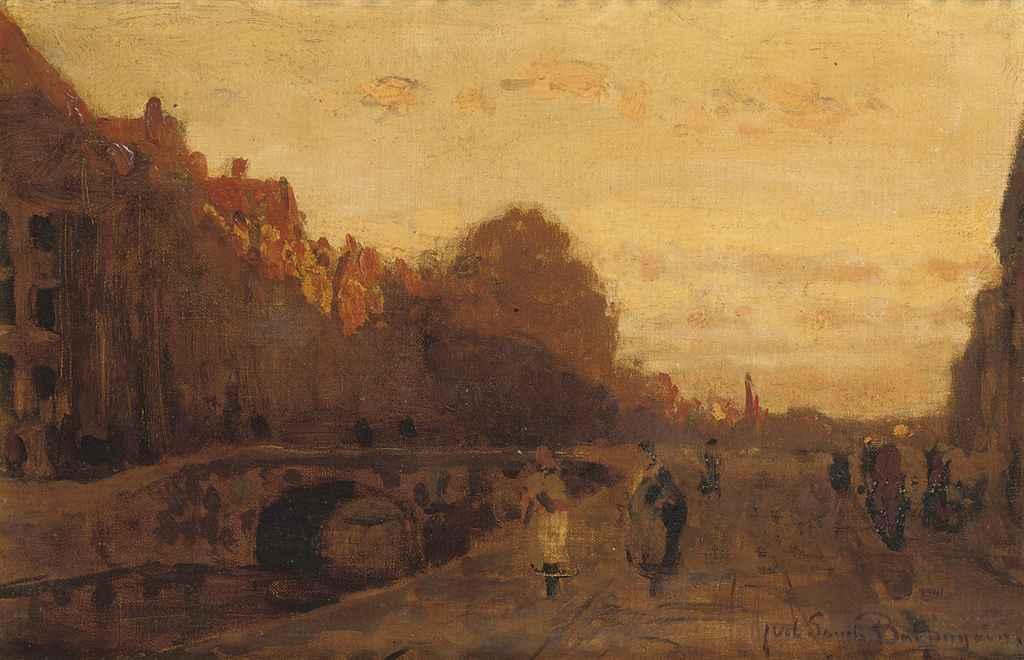 Het Spui zonsondergang: the Spui at sunset, The Hague