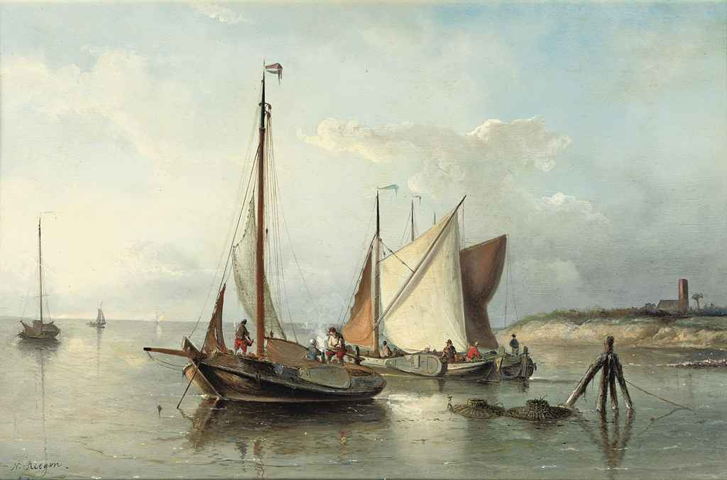 Sailing vessels in calm waters