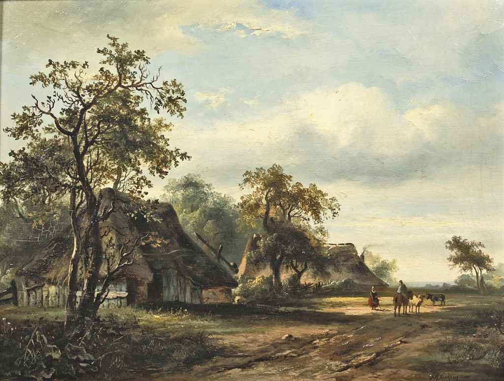 Summer landscape with travellers on a country road