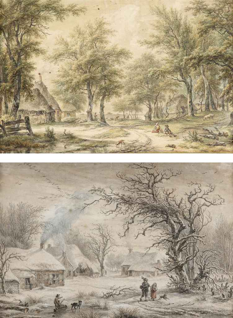 Figures resting on a path near a farm; and Country activities in winter