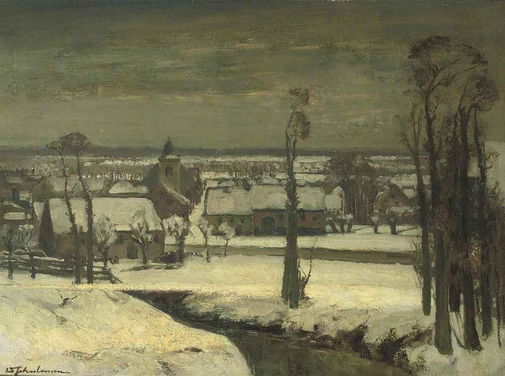 Dorp in sneeuw, (België): winter in a village in Belgium