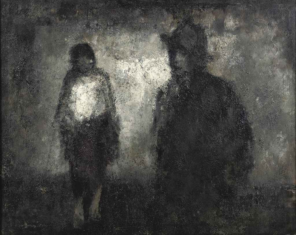 Two figures in the dark