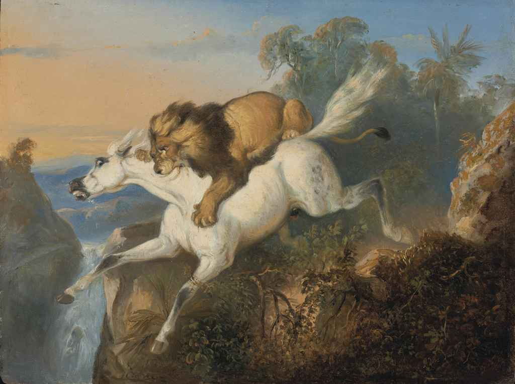 Lion attacking a horse
