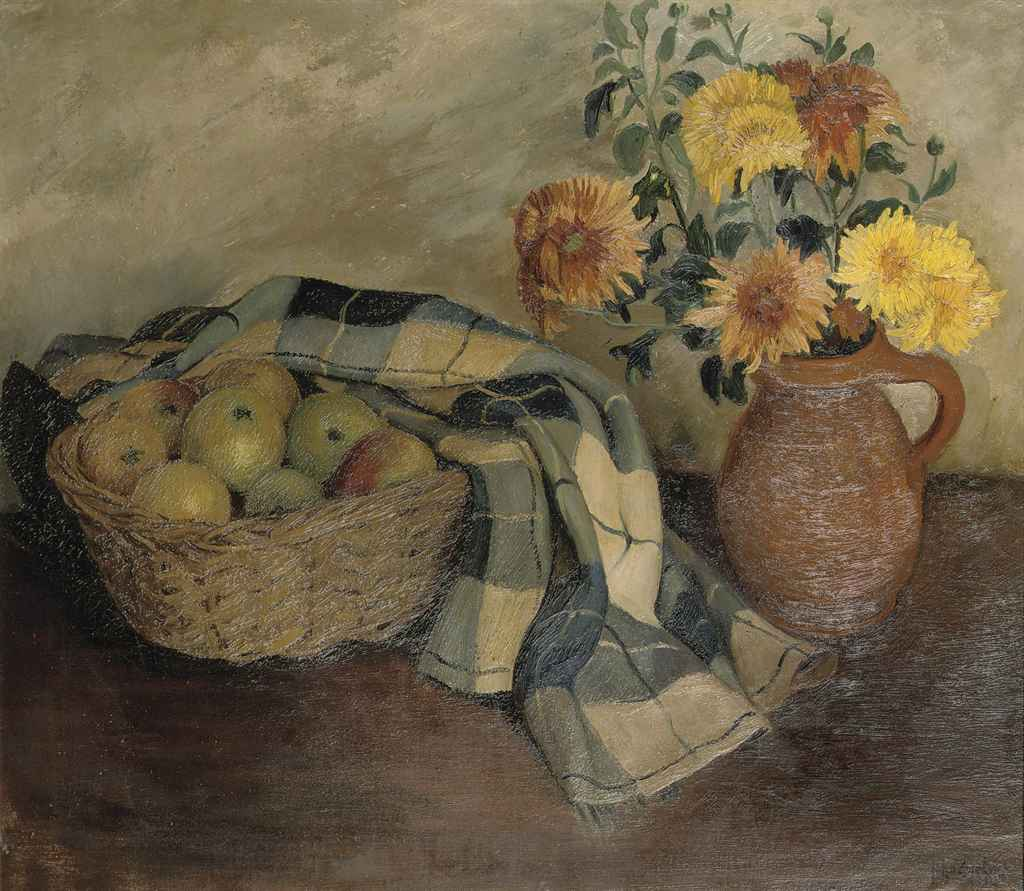 A still life with apples in a basket