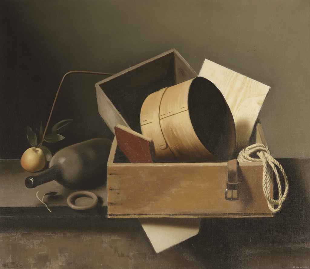 A still life with boxes, a bottle and an apple