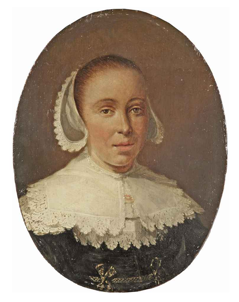 Portrait of a young lady, bust-length, in a black dress with white lace collar and headpiece