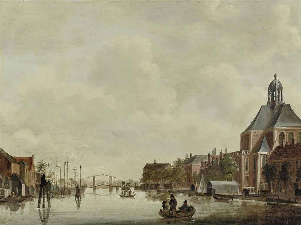 A view of the Nieuwevaart with the Kattenburgerbrug, Amsterdam, with Wittenburg, the Oosterkerk, brewery De Parel and the current Scheepvaartmuseum to the right, the Kadijk to the left