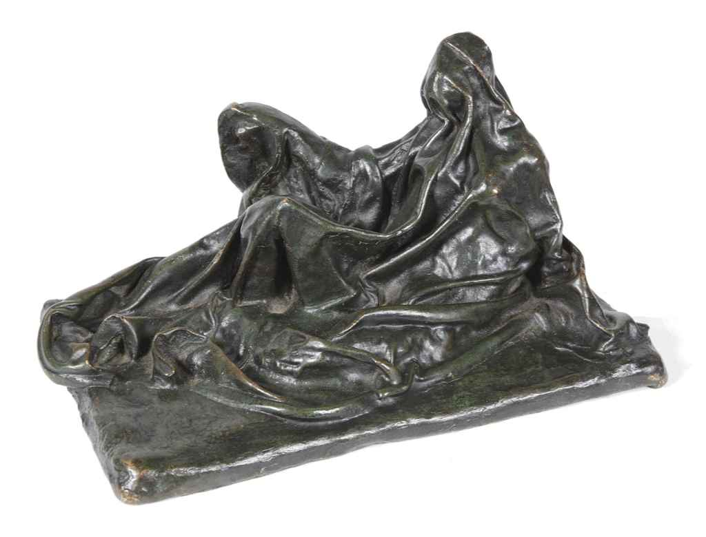 A FRENCH BRONZE MODEL OF A LYING FIGURE COVERED BY A SHEET