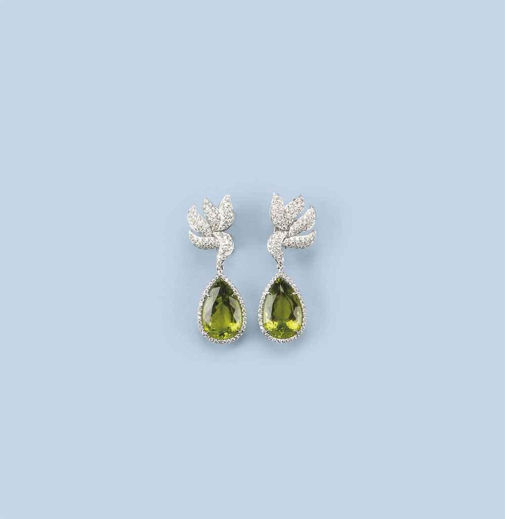 A PAIR OF PERIDOT AND DIAMOND EARRINGS, BY MARGHERITA BURGENER