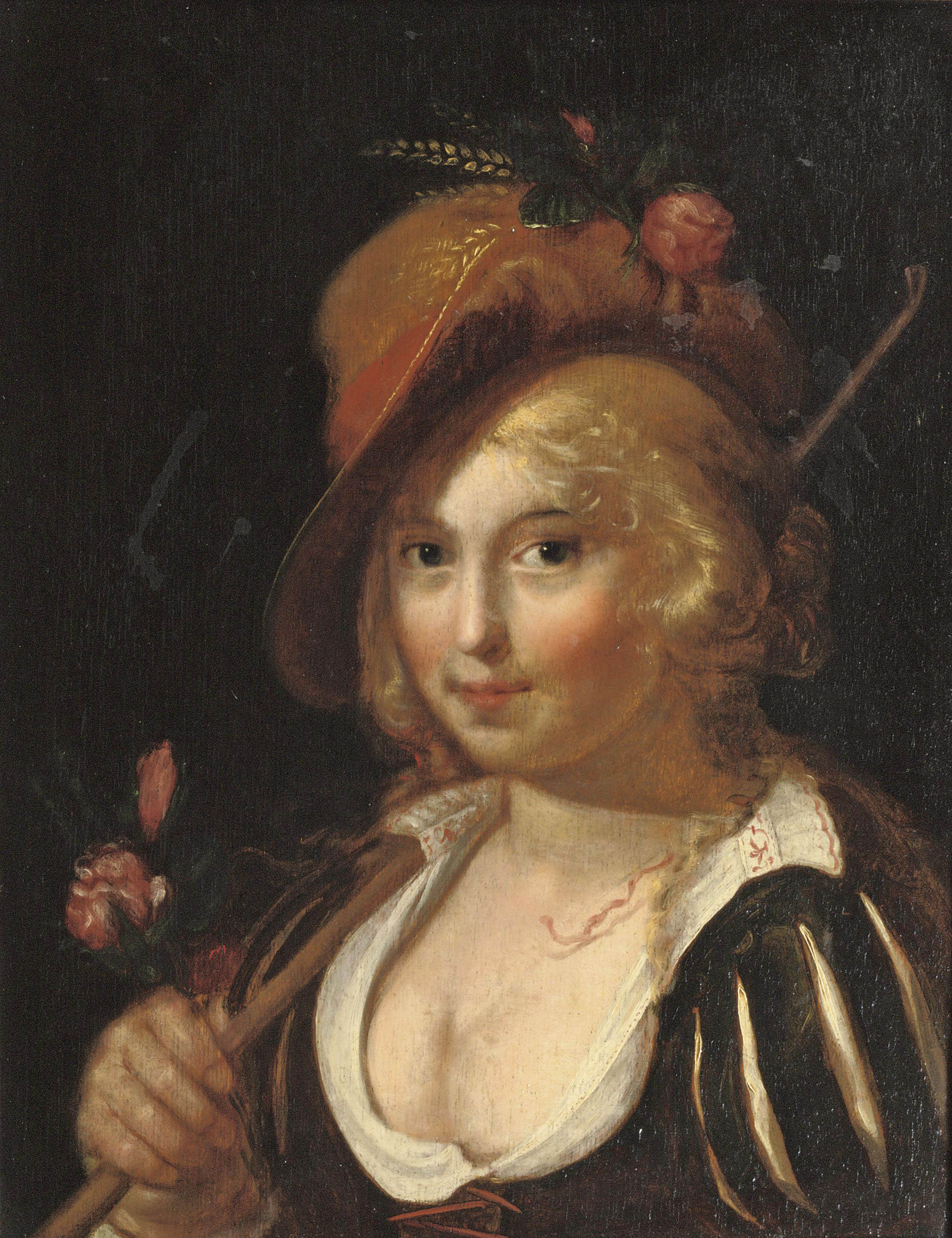 A young shepherdess holding a staff and pink roses in her hand