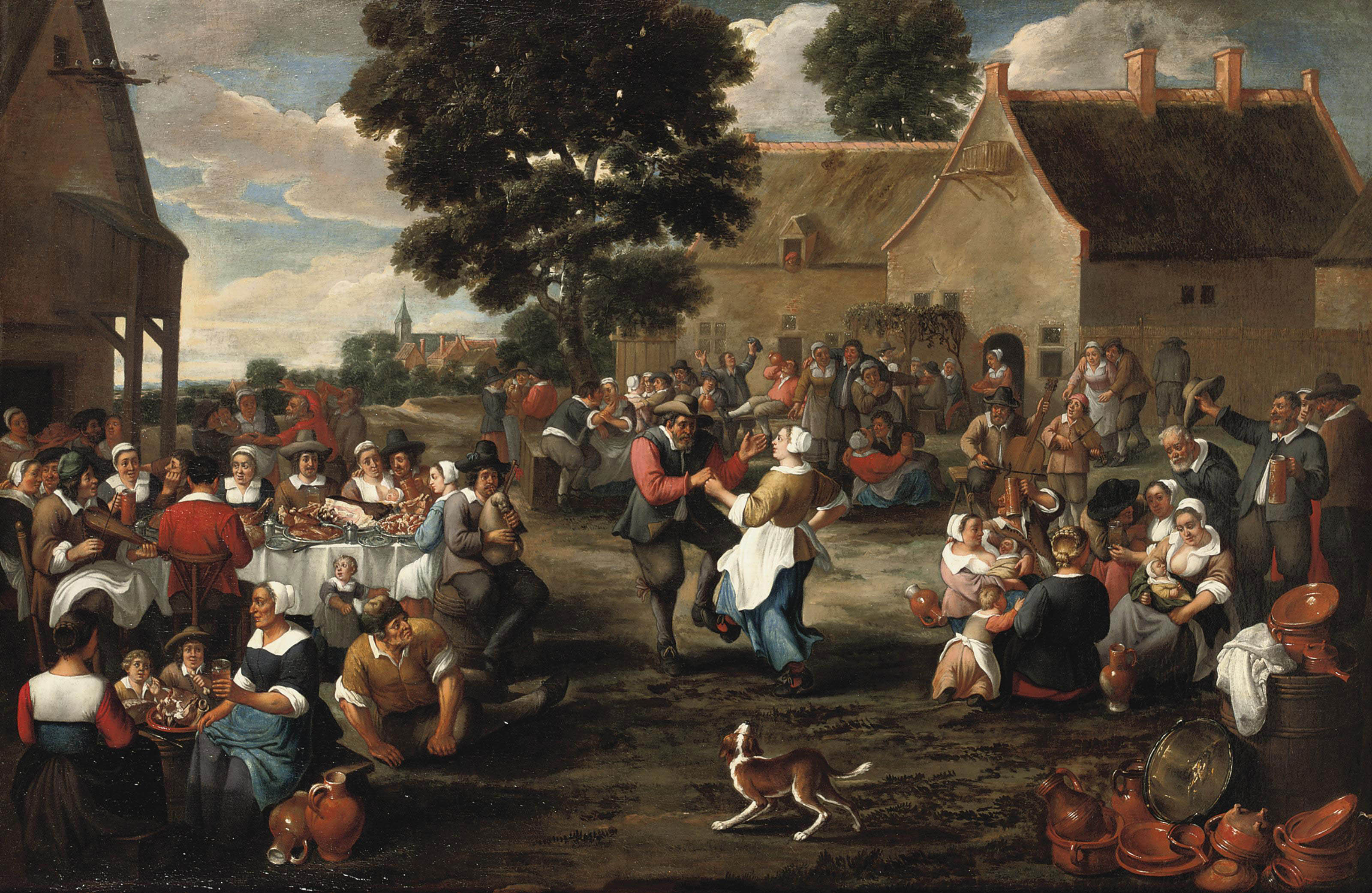 A peasant's feast in the village square