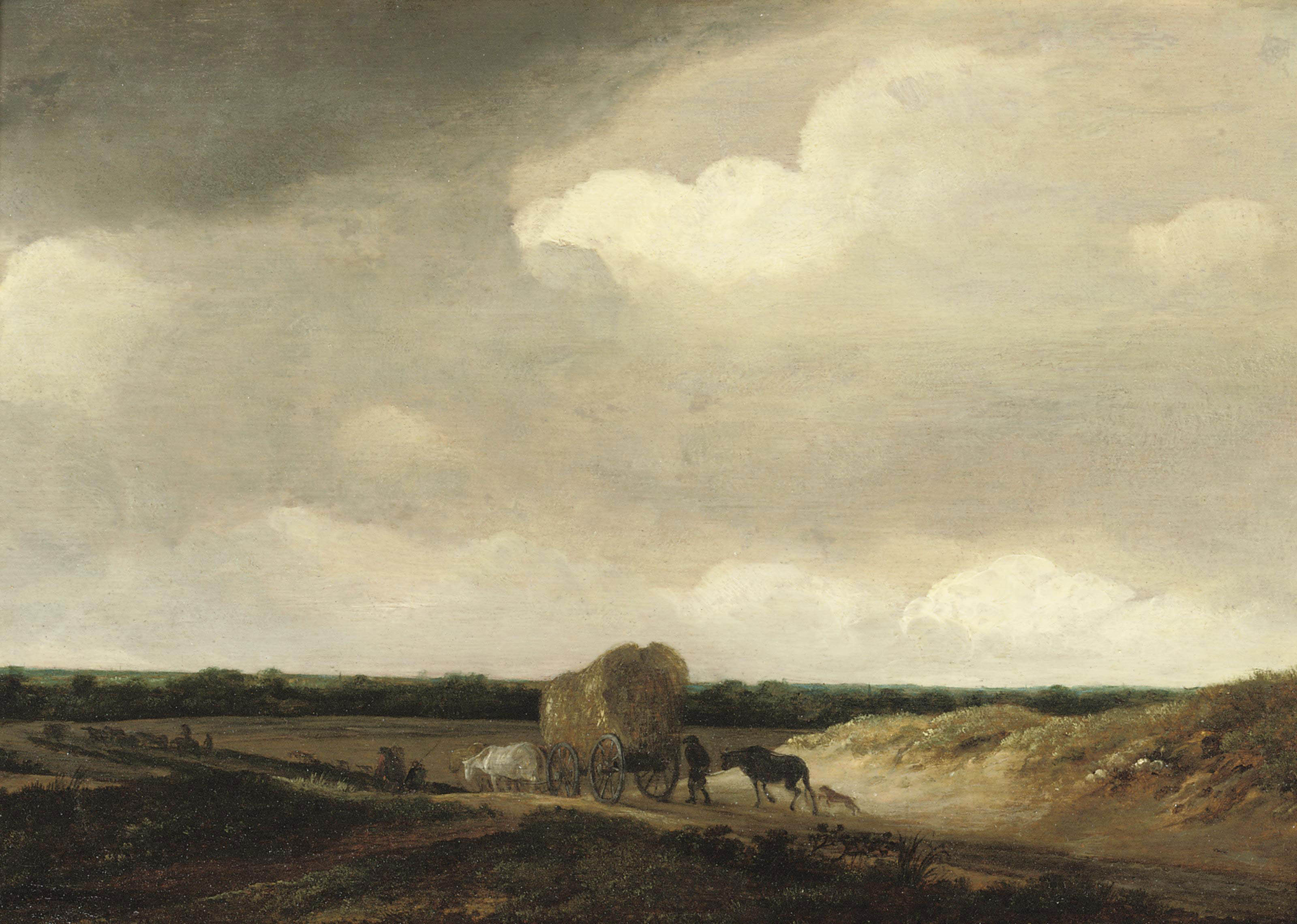 A dune landscape with peasants, cattle and a cart of hay on a path