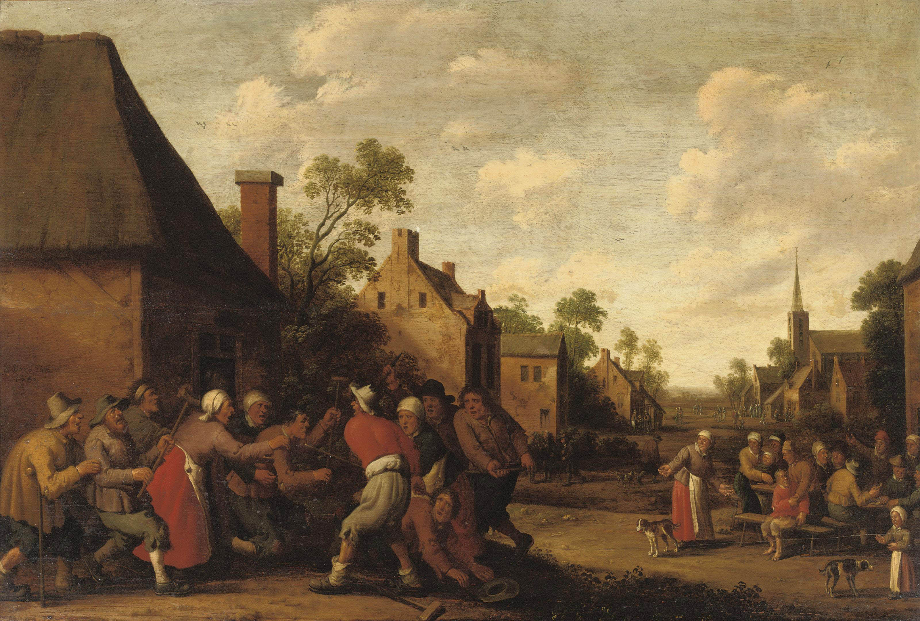 A village scene with a brawl in front of an inn