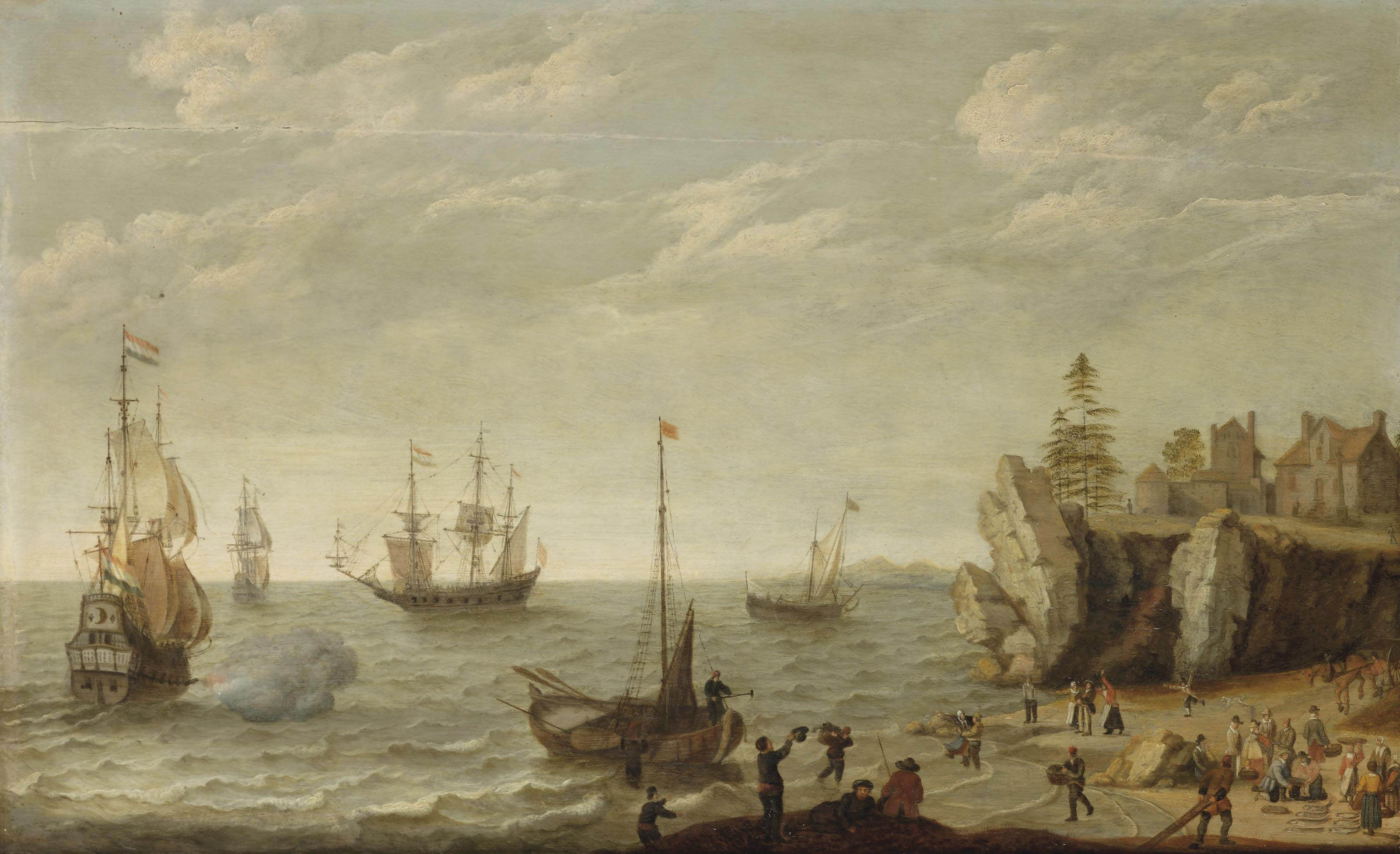 Dutch merchants at anchor in choppy waters off a rocky coast in a bay with fishermen unloading their catch