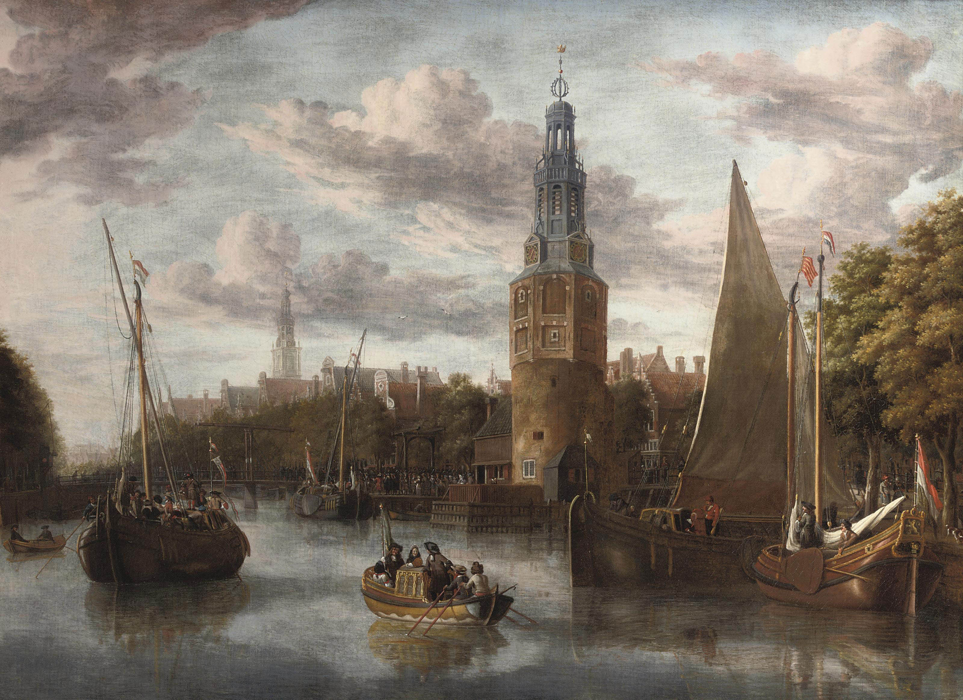 The embarkation of the troops near the Montelbaanstoren at the Oude Schans, Amsterdam, the 'Scheepjesbrug' to the left and the Zuiderkerk in the distance