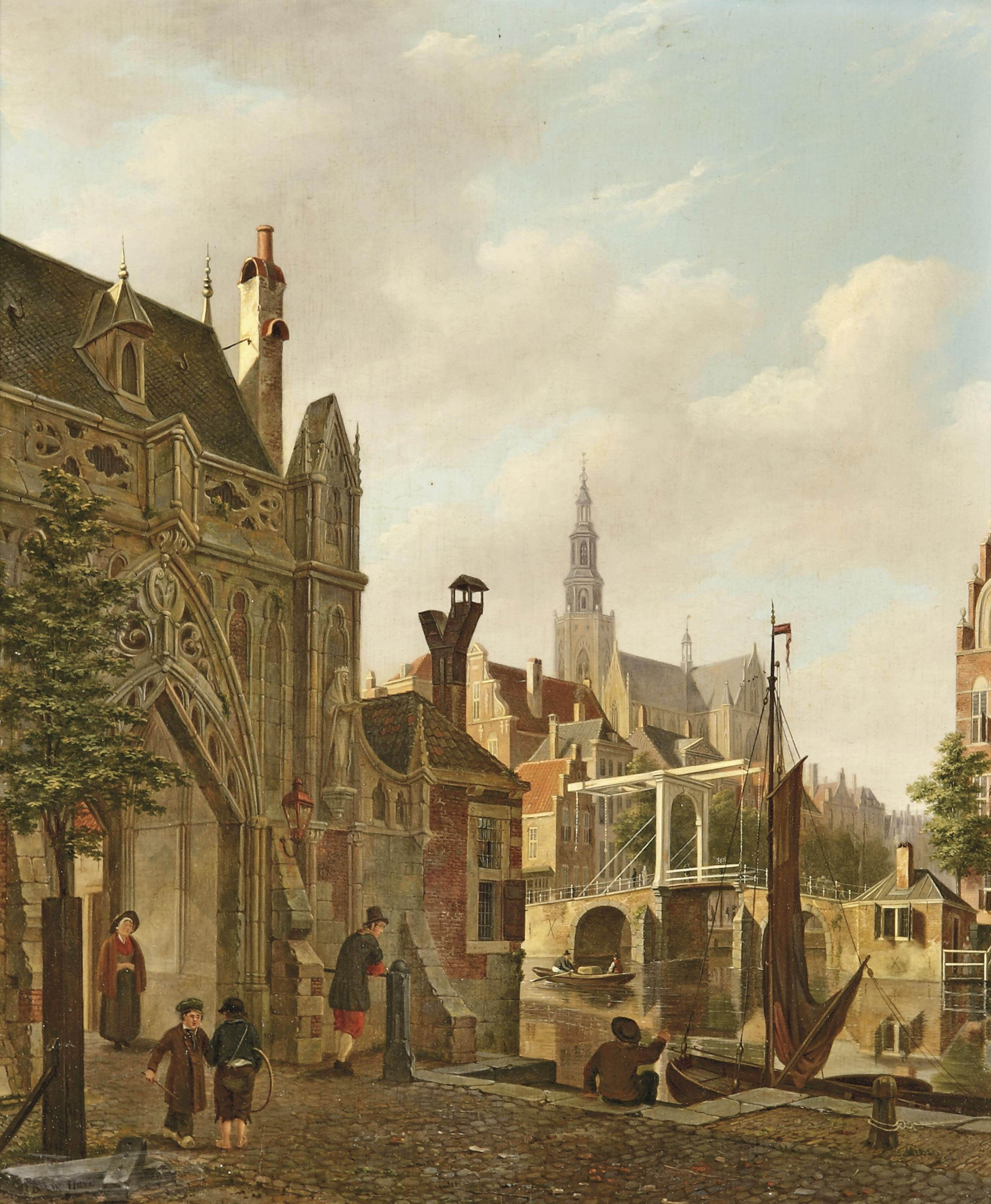 A 'capriccio' view of a Dutch town with children playing hoop