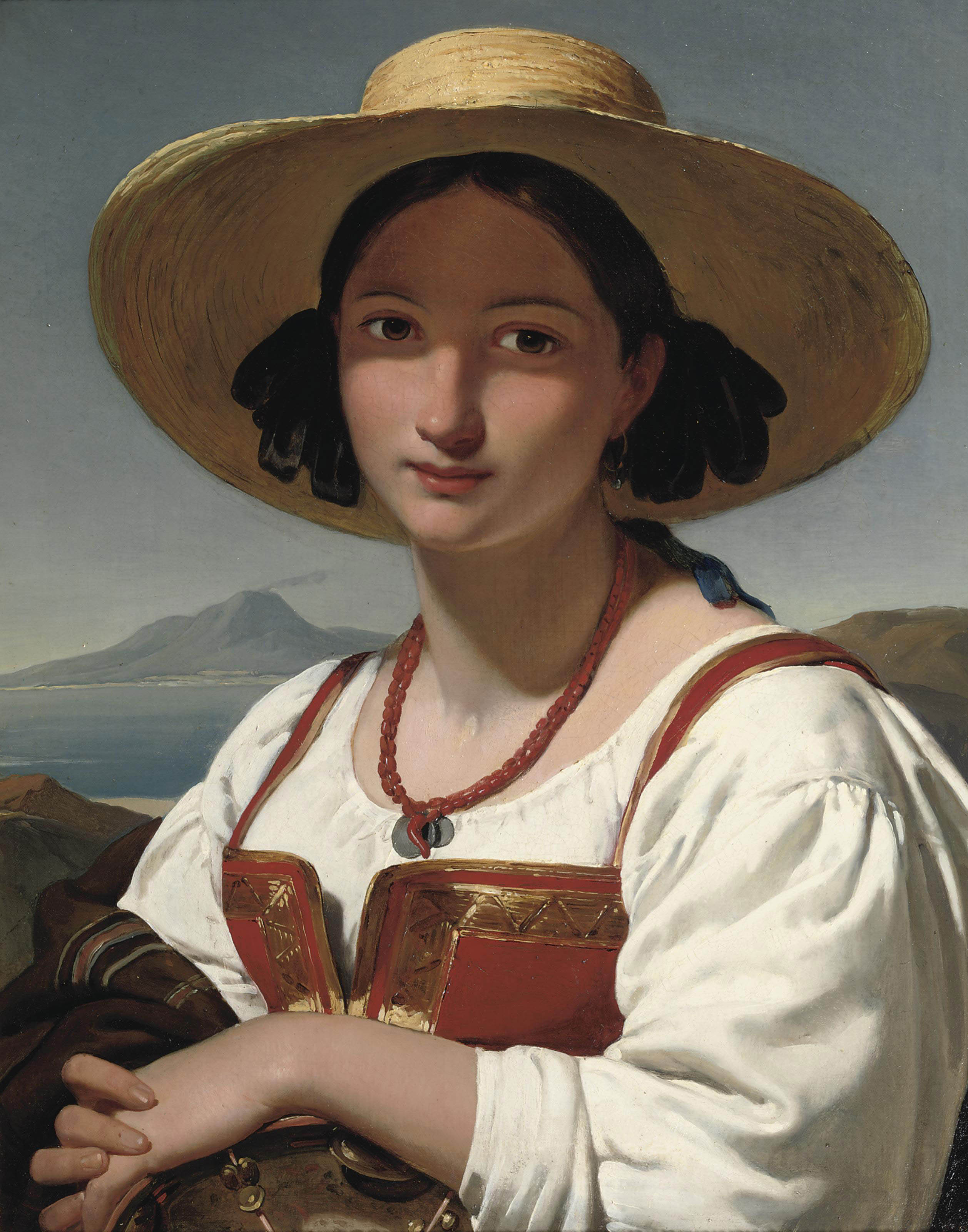 Portrait of a Neapolitan girl, with the Vesuvius in the distance
