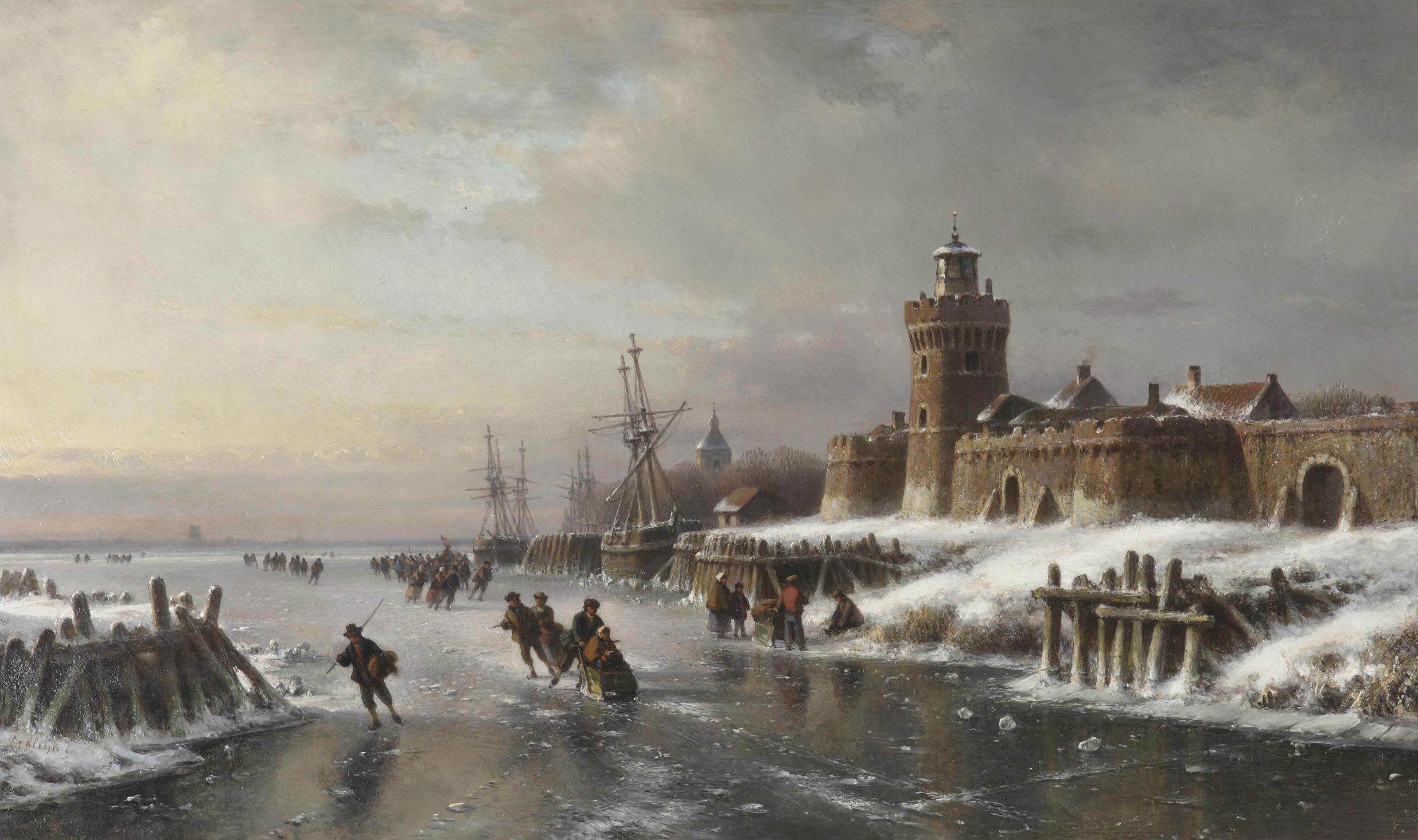 A winter landscape with figures skating near a fortified town