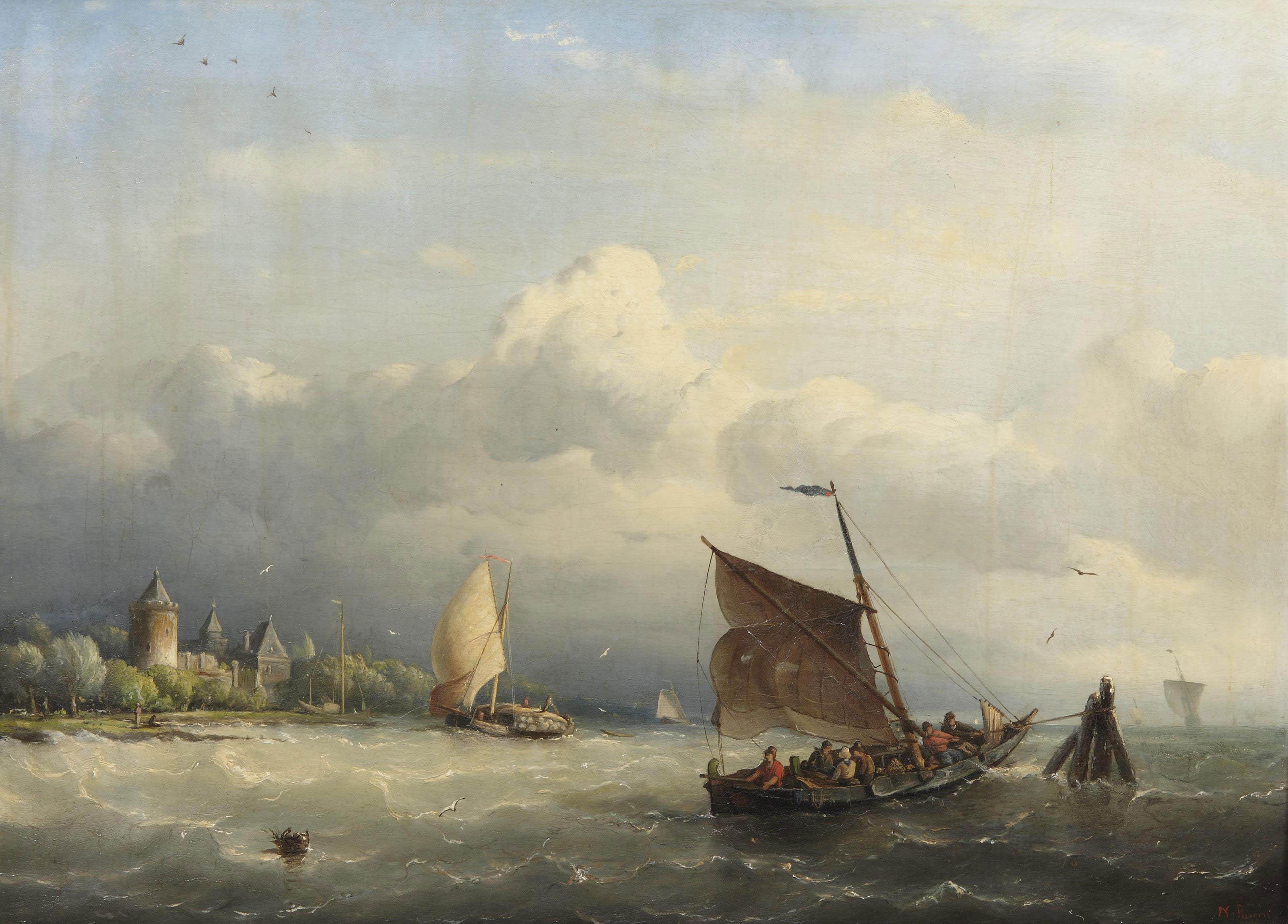 A fishing boat mooring in choppy waters, a castle nearby