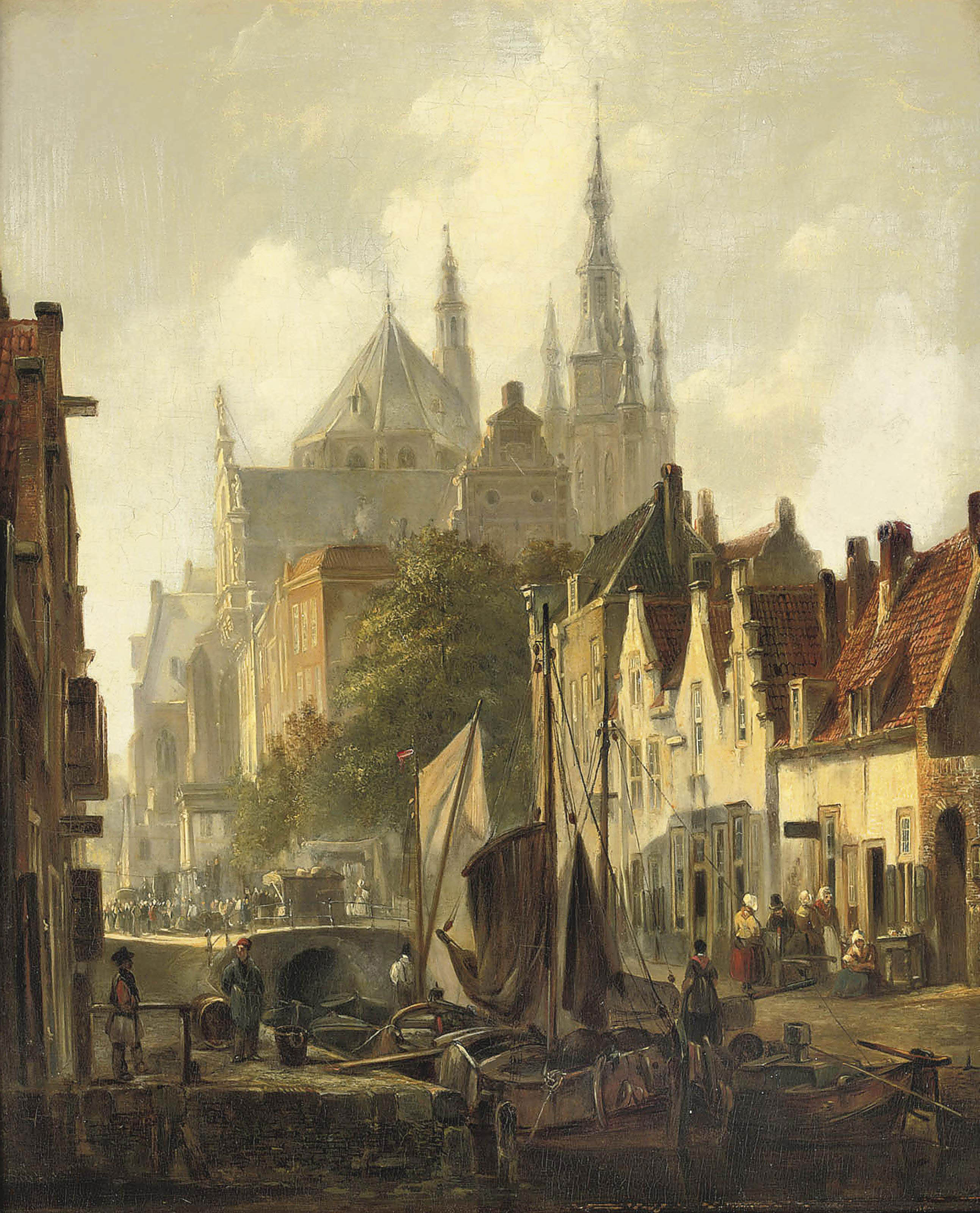 A view of Delft with the Oude Kerk in the distance
