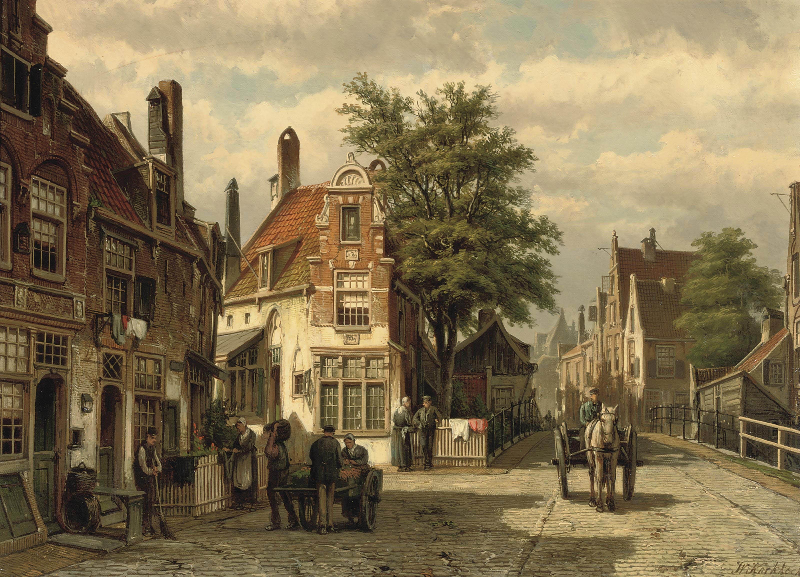 A busy street in summer, Enkhuizen